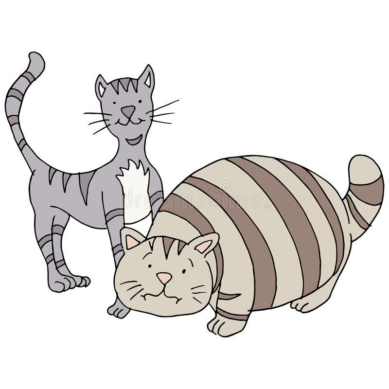 dibujo gato flaco y gato gordo